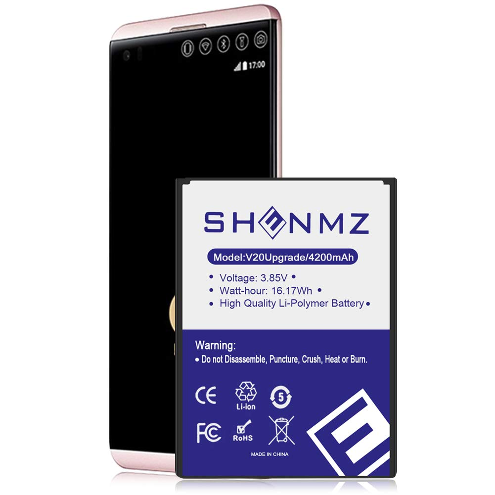 (Upgraded) LG V20 BL-44E1F Battery Replacement, SHENMZ 4200mAh Li-Polymer Battery for LG V20 BL-44E1F H910 H918 LS997 US996 VS995 - V20 Spare Battery (24 Month Warranty) by SHENMZ