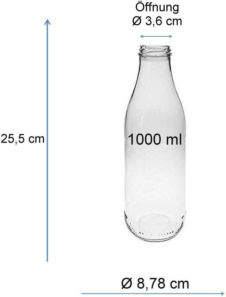 mikken 6/X BOTTIGLIE DI LATTE 1/litro con tappo a vite 12/X PVC freiem Argento Colori da riempire incluso imbuto /Ø 12/cm