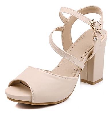 High Block Heel Rhinestone Sandal
