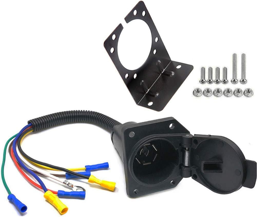 NovelBee 7 Way Trailer Blade Connector and 7 Pin Socket Kits with Mounting Bracket for Car Truck Trailer