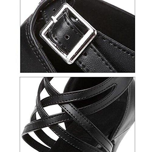 a Scarpe Scarpe Altezza Con tacco latino di cm cintura tacco moda 5 LIXIONG del UK5 dimensioni donna nero EU38 Design Colore 8 da 240 Baotou adulto 6 5 ballo 5cm doppia 5cm 5OxnZv1