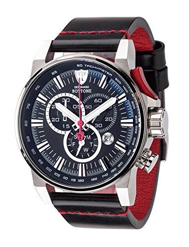 DETOMASO BOTTONE Mens Chronograph XL Watch with Tachymeter, Stainless Steel Casing and Leather Strap DT1064-A