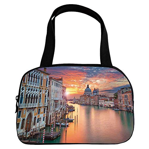 Multiple Picture Printing Small Handbag Pink,Cityscape,Image of Grand Canal in Venice Horizon European Town International Heritage Urban,Multi,for Girls,Comfortable Design.6.3