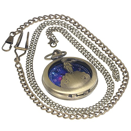 The Little Prince Bronze Pocket Watch Vintage Brass Antique Case Pocket Watch 1 PC Necklace 1 PC Key Clip Quartz Pendant Watch Fob Nurse Watch