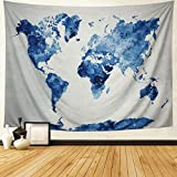 Dupetoner Blue World Map Tapestry Watercolor Map Wall Hanging Abstract Splatter Painting Wall Tapestry Hanging for College Student Dorm Decor