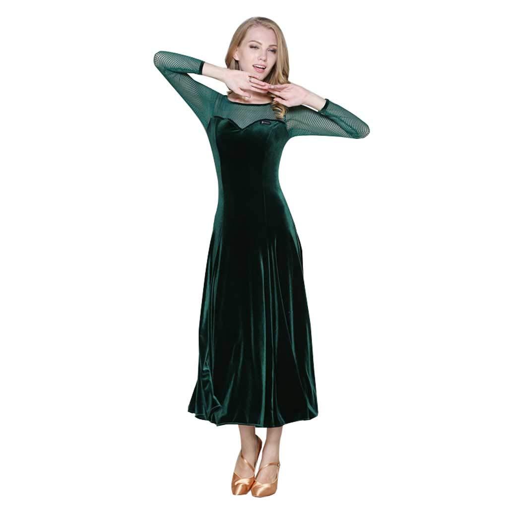 女性の大人のモダンダンスコスチューム、アクリルロングスリーブダンスウェア B07HGYFL1Q L l|ダークグリーン ダークグリーン L l