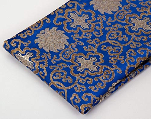Tibetan Buddhist Traditional Blue Lotus Design Silk Brocade/Fabrics/Fabric Cloth/from Nepal (Lotus Fabric)