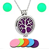 aroma glow oil refills - Essential Oil Diffuser Necklace Made With 316L Hypo Allergenic Hard Stainless Steel Used for Aromatherapy and Includes 5 Color Pad Refills - Glow In The Dark Inserts