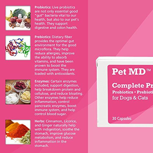 Image of Pet MD Dog Probiotic, Prebiotic, Digestive Enzymes and Herbs - Canine and Cat Probiotics - 30 Sprinkle Capsules