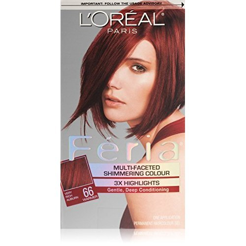 L'Oreal Paris Feria Multi-Faceted Shimmering Color, Very Rich Auburn [66] (Warmer) 1 ea (Pack of 3)
