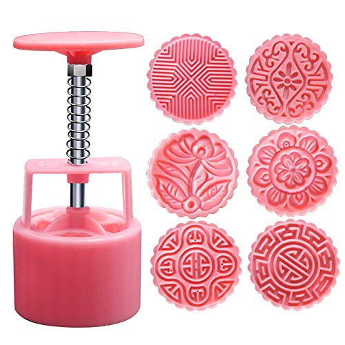 Transer 1 Set Round Moon Cake Molds With 6 Patterns Molds Hand Press Mooncake Baking Pastry Tools (100g - 6 ()