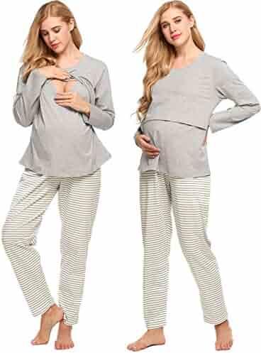 069cb1f21b32d Aimado Maternity Sleepwear Sets for Women Long Sleeves Pjs Nursing Gowns