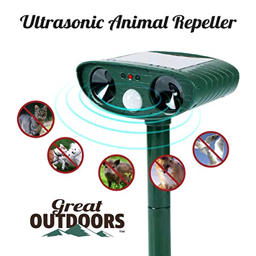 GREAT OUTDOORS TM Ultrasonic Animal Repeller and Solar Pest Waterproof Repellent - Effective & Humane Outdoor Deterrent for Bird, Deer, Cat, Dog, Squirrel, Raccoon, Rabbit (5.6x2.2in, Green)