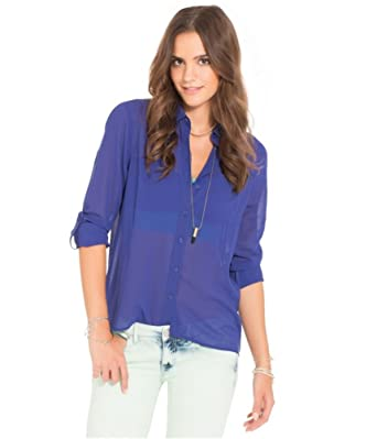 1019d75fb Aeropostale Womens Semi-Sheer Button Down Blouse at Amazon Women's ...
