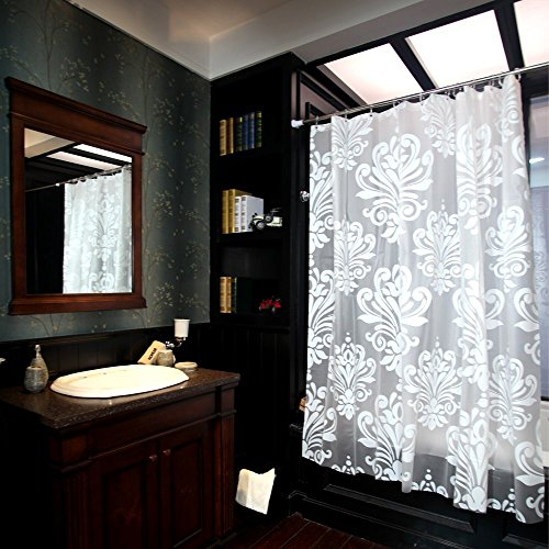 HOSL 72x785 Inch White Floral Bathroom Shower Curtain Liner With 12 Hooks And Rust Resistant Metal Grommets