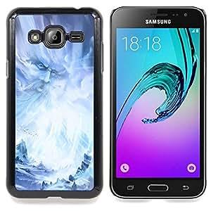 "Qstar Arte & diseño plástico duro Fundas Cover Cubre Hard Case Cover para Samsung Galaxy J3(2016) J320F J320P J320M J320Y (Dios hadas Wizzard Fairytale Azul Hielo Nieve"")"