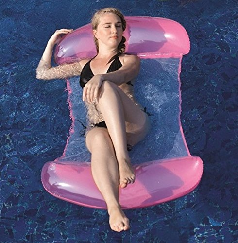 "Pool Central 2 in 1 Mesh Inflatable Swimming Pool Lounger Float (580 Piece), Pink/White, 61"" -  32148188"