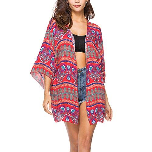 乳各時代Zhhlinyuan 美しい 女性のドレス ファッション Printed Beachwear Bikini Cover-up Shirt Kaftan Cardigan Outwear Sundresses Summer