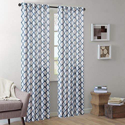Ink+Ivy Modern Room White Sheer Curtains for Bedroom, Nakita Geometric Rod Pocket Sheer Curtains 84 inches Long, 90% Polyester 10% Linen Back Tab Indigo Sheer Curtain, 50X84, 1-Panel Pack