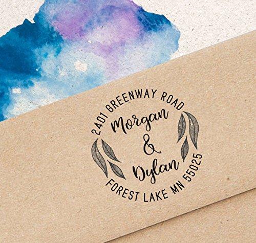 Printtoo Custom Monogram Round Rubber Stamp Rustic Wedding Invitation Address (Round Wedding Invitations)