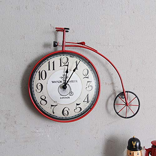 HAOLY American Retro Wrought Iron Bicycle Wall Clock,Creative Home Living Room Bedroom Wall Clock,Wall Hanging Decorations Wall Decoration-C 48x35cm(19x14inch) ()