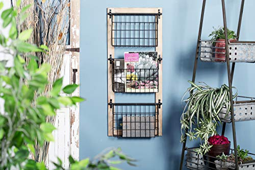 Deco 79 58646 58646 Basket Wall Rack,  Brown/Black (Wall Baskets Kitchen)