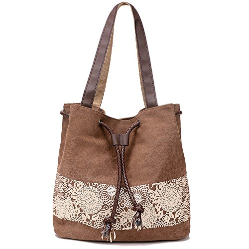 Flag Genuine Leather Chain Wallet - Hiigoo Printing Canvas Shoulder Bag Retro Casual Handbags Messenger Bags (Brown)