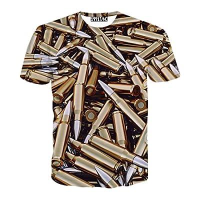 FaPlus Men's Fashion Metal Bullet 3D Print Short Sleeve T-Shirts