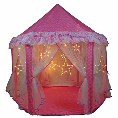 SkyeyArc Princess Castle Play Tent With Large Star Lights String, Kids Indoor Playhouse With Lace, Great Birthday Gifts For Kids, Pink.