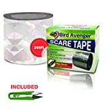 Bird Repellent Scare Tape with FREE BONUS - Easy Bird Deterrent Device, Control and Keep Birds Away. Stops Damages and Scares Birds Away, Easy to Install. No Need for Spikes, Netting, Traps or Scarecrow Instantly Protect Your Property Now! Extra Long Roll 200 Ft. (60.1m)