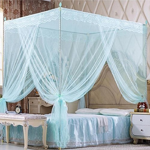Bluelans 4 Corner Post Bed Canopy Mosquito Net, Netting Bedding, Twin/Full/Queen/King, Blue