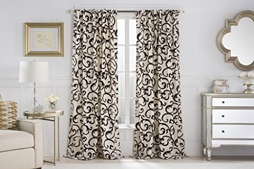 Ruthy's Textile 2-piece Brandy Flocked Back Tab or Rod Pocket Window Curtain Panels 54″ X 84″ Total 108″ X 84″ (Beige/Chocolate)