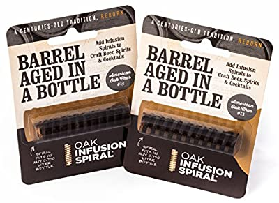 2 Pack - Barrel Aged in a Bottle Oak Infusion Spiral. Barrel Age Your Whiskey - Bourbon - Wine - Favorite Alcohol in Days, Improve the Flavor and Looks with the Oak Infusion Spiral
