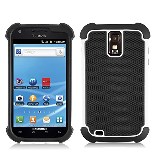 Galaxy S2 T989 Case, JAMMYLIZARD Honeycomb 2 in 1 Rugged Heavy Duty Cover for Samsung Galaxy S2 T989, White