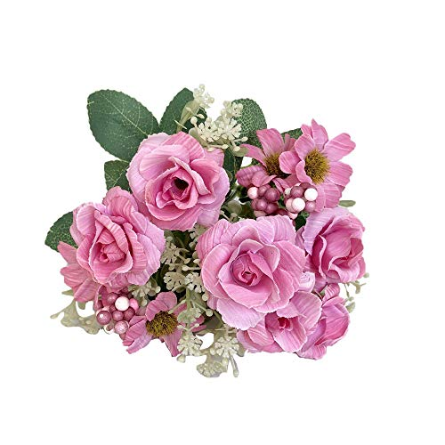 Artificial Fake Flowers Silk Artificial Roses 9 Heads Bridal Wedding Bouquet for Home Garden Party Wedding Decoration (Pink) Silk Flowers Real Touch Fake Dandelion Bouquet