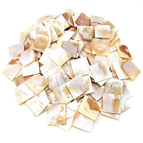 Genuine Mother of Pearl Mosaic Tiles – 200 Pieces Pack Of Mosaic Tiles Supplies for DIY Crafts, Plates, Picture Frames, Flowerpots, Handmade Jewelry– Small Square Decorative Tiles Square Shape 20x20mm