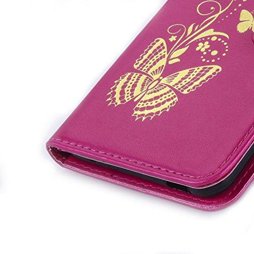 HTC Desire 816piel, HTC Desire 816Flip Móvil, jawseu novedad Retro/Vintage LUXUS Oro Mariposa Patrón Lanyard/Strap Funda Carcasa Cuero PU Funda Cierre Magnético Estilo Libro Flip Cartera Funda Walle Butterfly,Rosa