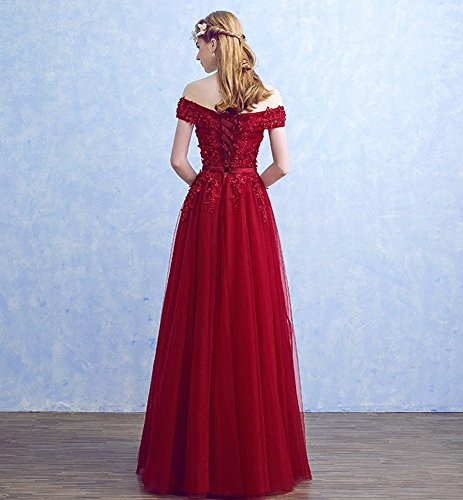 Wedding Dress Red Evening Drasawee Prom Party V Gowns Shoulde Off Women's Long Neck YzYqA4