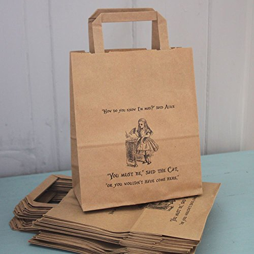 Alice in Wonderland Party Bags Kraft with Handles x 10 Wedding / Mad Hatters]()