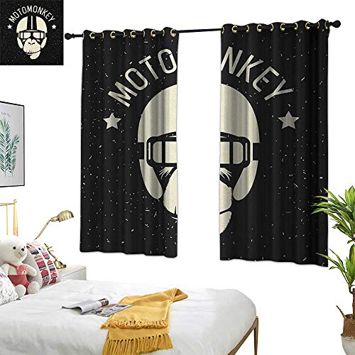 Warm Family Grommet Curtains Outer Space,Sign Alien Monkey