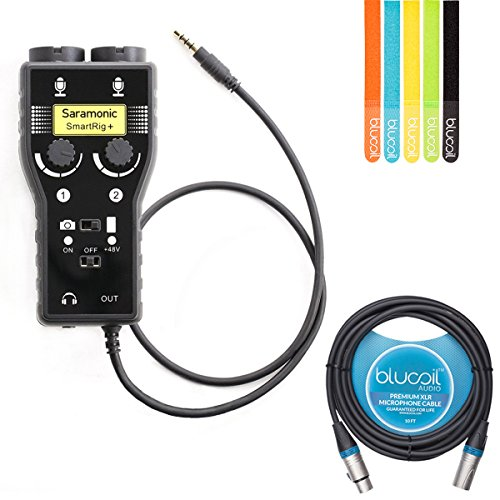 Saramonic SmartRig Plus 2-Ch Mixer/Audio Adapter with 48v Phantom Power for XLR / 3.5mm Microphones -INCLUDES- Blucoil 10-Ft XLR Cable and 5-Pack of Cable Ties by blucoil