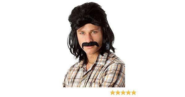 d2c393f5dc86f Amazon.com  80 s Black Mullet Wig for Men Redneck Dr Disrespect Waynes  World Costume Wigs  Clothing