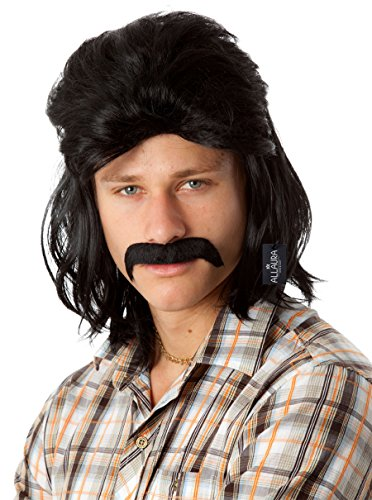 Mullet Wig Men Redneck Hillbilly Black Costume Wigs White Trash Dr Disrespect Costumes 70s 80s Waynes World Retro (Rambo Costume Girl)