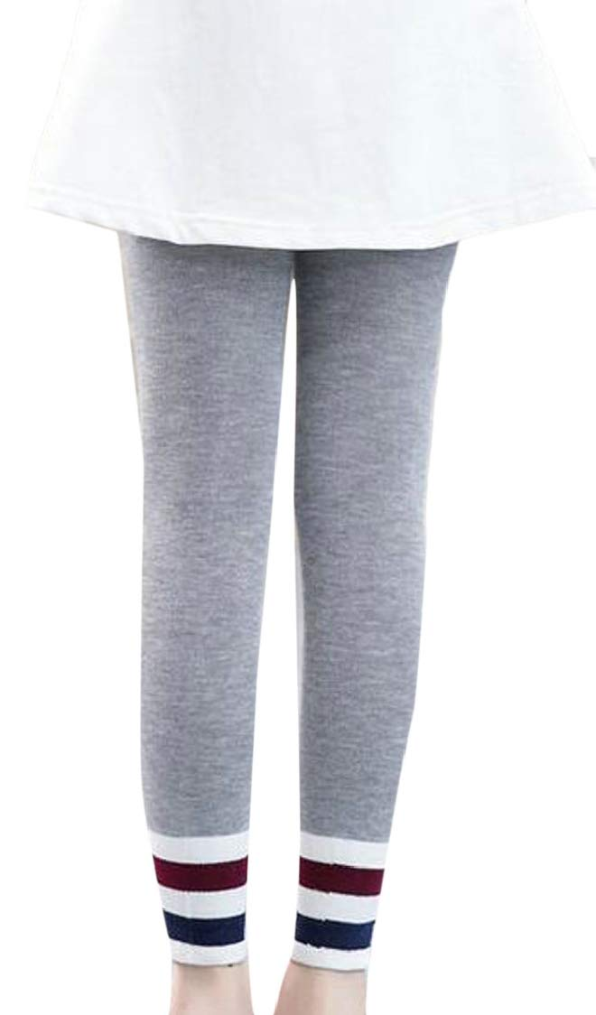 pipigo Girls Comfortable Sport Pull-On Stretchy Fashion Tight Leggings Light Gray2 3T