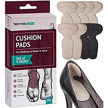 Heel Cushion Pads for Women and Men - 4 Pairs - Comfortable Suede Reusable Soft Shoe Inserts Self-Adhesive Foot Care Protector Grips Liners - Heel Pain Relief Bunion Callus Blisters