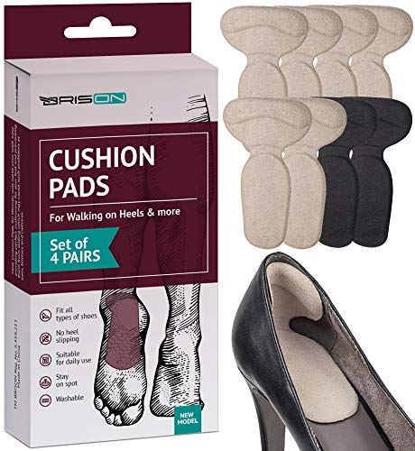 Heel Cushion Pads for Women - 4 Pairs - Comfortable Reusable Soft Shoe Inserts Self-Adhesive Foot Care Sleeve Protectors Grips Liners - Cracked Sole Heel Pain & Spur