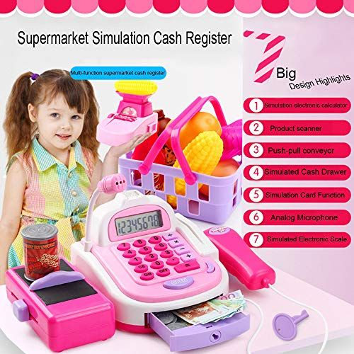 US Fast Shipment &Clearance Tuscom Boy Girl Kids Baby Cash Register Toy Set,11.4 x 4.3 x 7.8in for Educational Developmental Holiday Birthday Gift (Colorful)