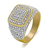 LuReen 14k Gold/Silver Twotone Square Iced Out CZ Hip Hop Ring for Men (10)