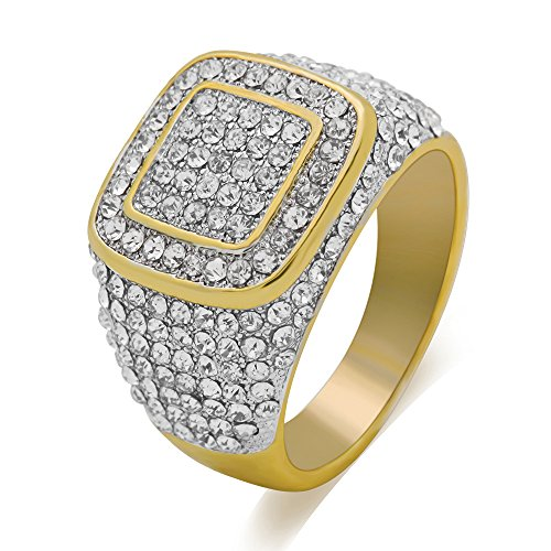 LuReen 14k Gold/Silver Twotone Square Iced Out CZ Hip Hop Ring for Men ()
