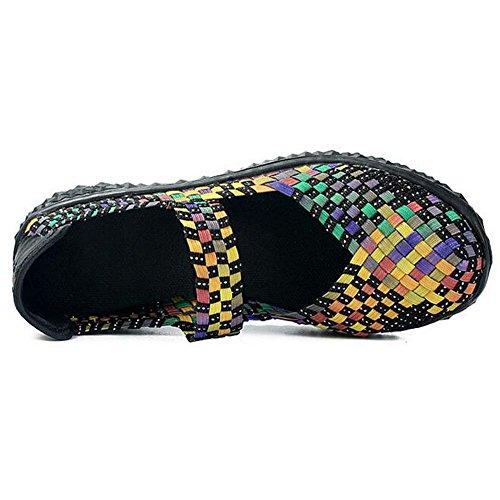Angelliu Women Vintage Weaved Flats Sandals Slip On Trainers Colorful IDftlezfz3